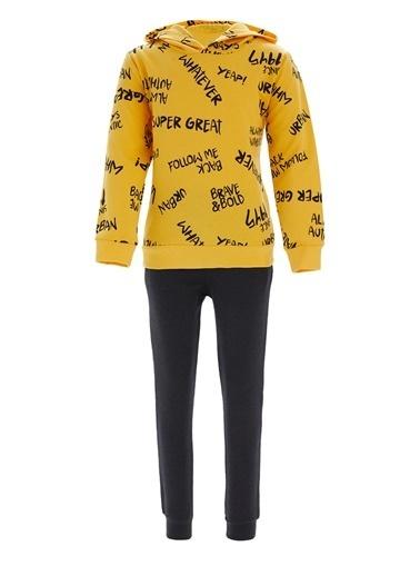 Defacto –Fit Erkek Çocuk Kapüşonlu Sweatshirt ve Jogger Eşofman Takım Sarı